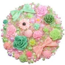 'ROSE GARDEN' Theme Rhinestone and Cabochon Mix